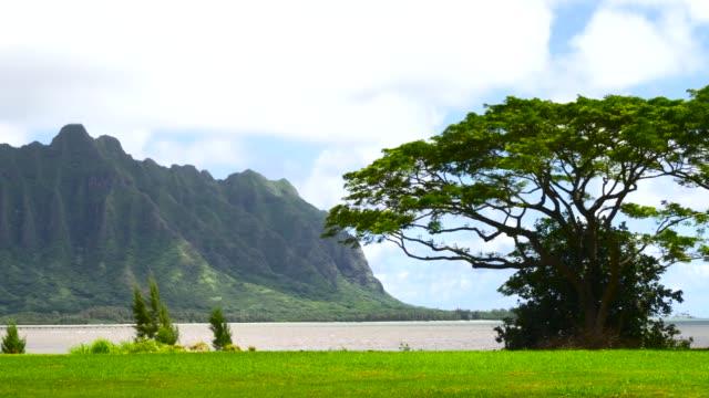 Koolau mountains viewed across Kaneohe Bay on Windward Oahu Hawaii