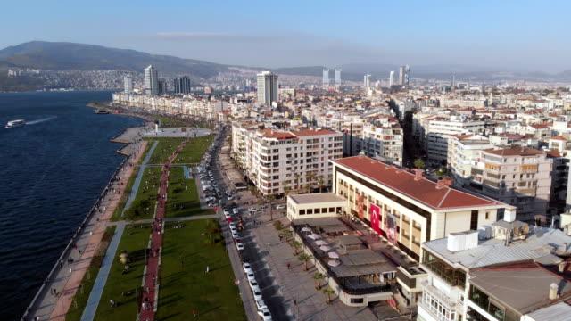 Kordon in Izmir Aerial view of Kordon in Izmir aegean sea stock videos & royalty-free footage