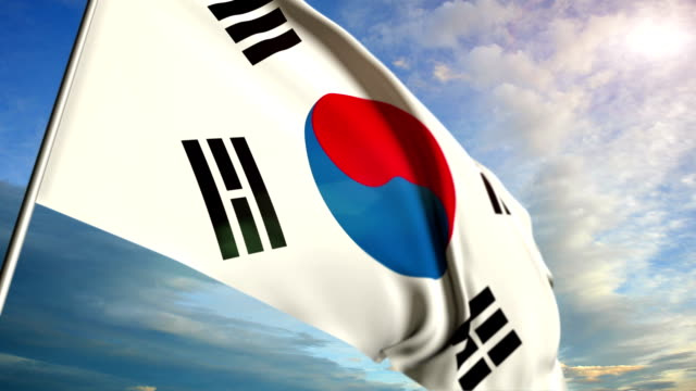 Korean flag floating on sunset sky background video