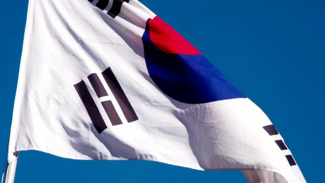 korean flag wiggles the wind - insygnia filmów i materiałów b-roll