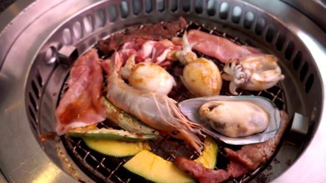 Korean grill in a restaurant video