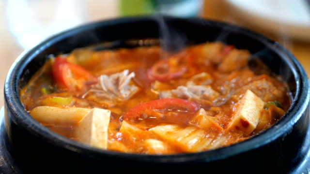 Korean Kimchi soup Korean Kimchi soup crockery stock videos & royalty-free footage