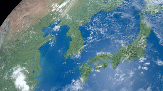 korean peninsula in planet earth, aerial view from outer space - aerial map stock videos & royalty-free footage