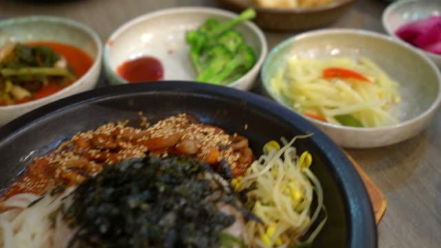 korean traditional food (bibimbap) - cultura coreana video stock e b–roll