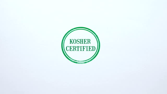 Kosher Certified seal stamped on blank paper background, food quality control