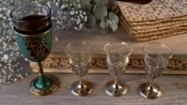 Kosher four glasses wine passover bread holiday jewish matzoh celebration video