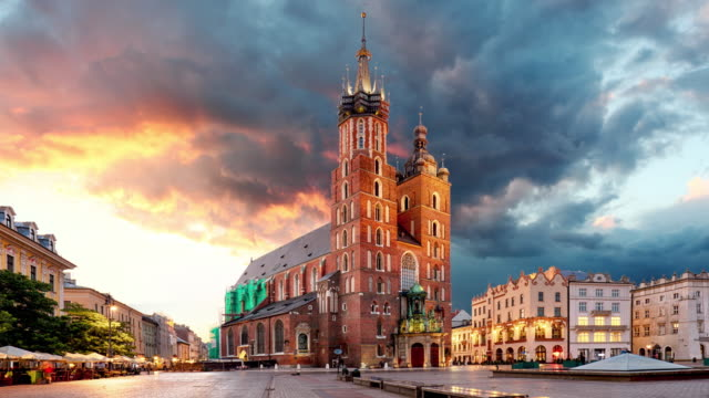 Krakow Market Square, Poland, Time lapse video