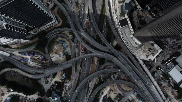 kuala lumpur aerial highway junction - kuala lumpur video stock e b–roll