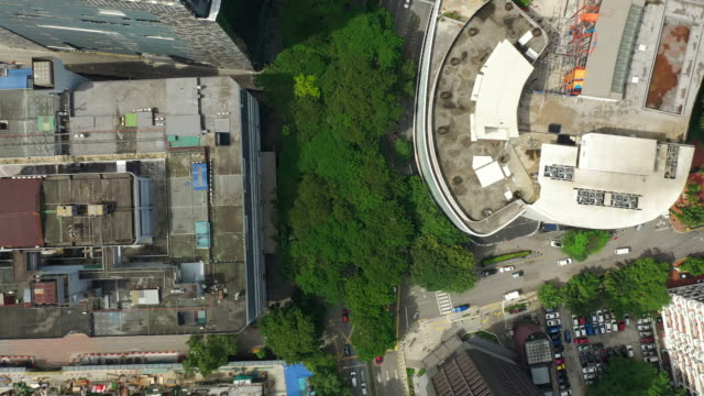 kuala lumpur city downtown traffic street aerial topdown panorama 4k malaysia video