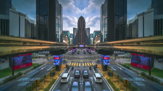 kuala lumpur city mirror effect time lapse - malaysia stock videos & royalty-free footage