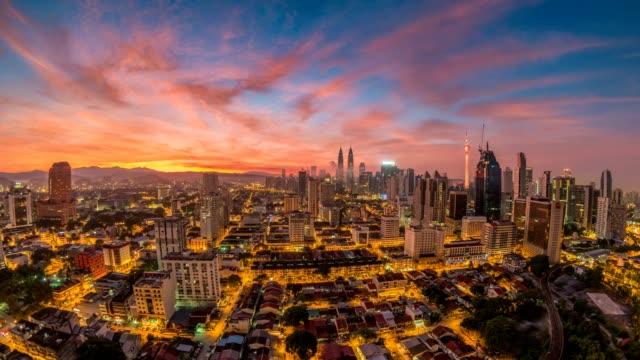 Kuala Lumpur City Skyline Night To Day Sunrise Timelapse