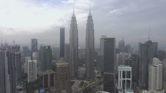 kuala lumpur skyscrapers from adove view - malaysia stock videos & royalty-free footage