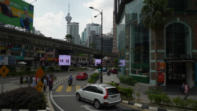 kuala lumpur sunny day road trip downtown street view slow motion pov panorama 4k malaysia - malese video stock e b–roll