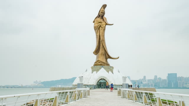 Kun Iam statue of Guanyin, the goddess of mercy in Macau Special Administrative Region of the People's Republic of China video