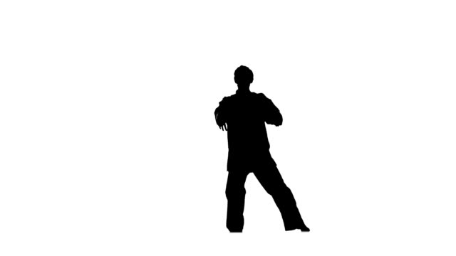 kung fu, karate, martial arts, makes rack on a white background, Silhouette, hand movements, Slow motion video