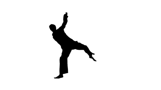 kung fu, karate, martial arts, Silhouette, Slow motion young fit man jumping, high kick and fist punch, Isolated on white background, naked torso, a black belt, Silhouette, Slow motion. raising the legs, different elements martial arts stock videos & royalty-free footage