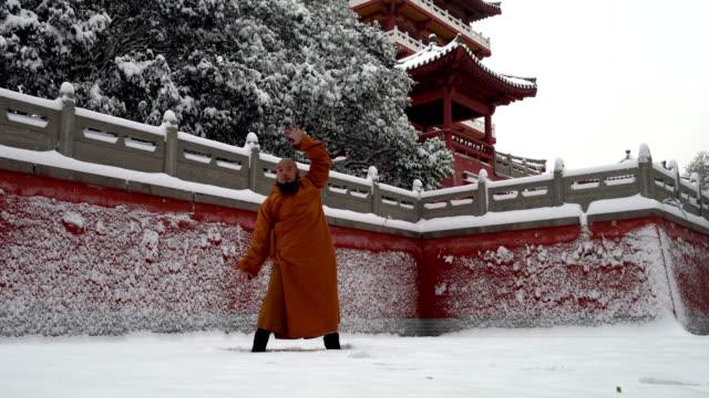 vidéos et rushes de guerrier de moine de kung fu dans la chine de temple de shaolin - arts martiaux