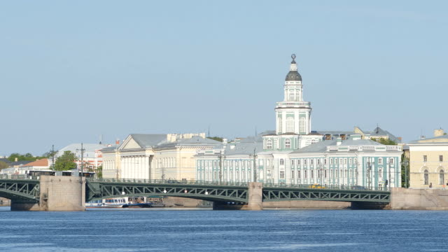 Kunstkamera, the Palace Bridge, the Neva river - St Petersburg, Russia video