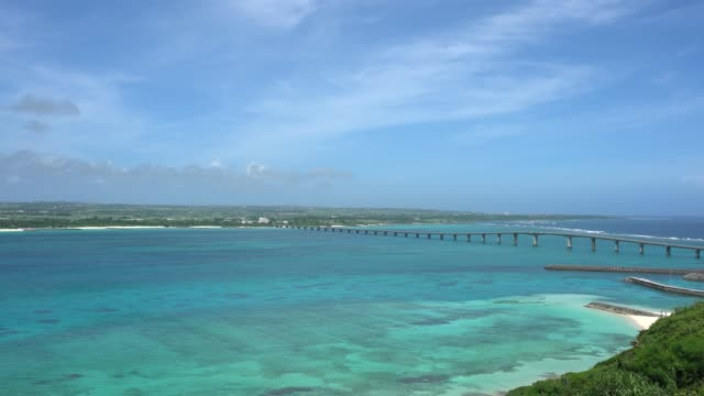 Kurima bridge connecting Miyakojima island and Kurima island in Japan video
