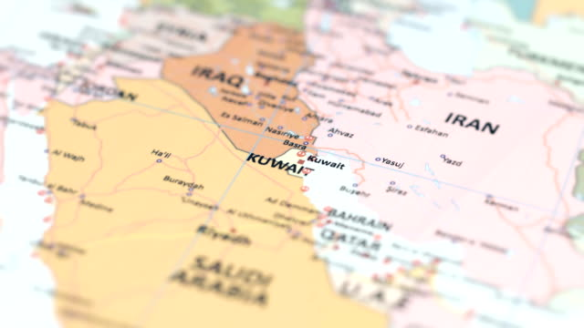 Asia Kuwait On World Map Stock Video - Download Video Clip Now - iStock