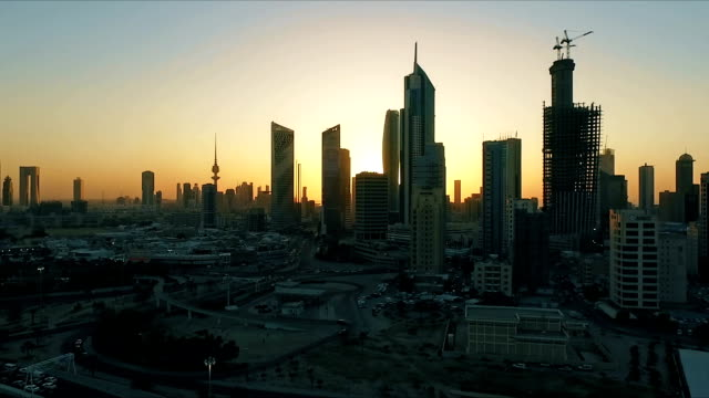 Kuwait skyline at sunset. Some famous places in Kuwait shooting from the sky video