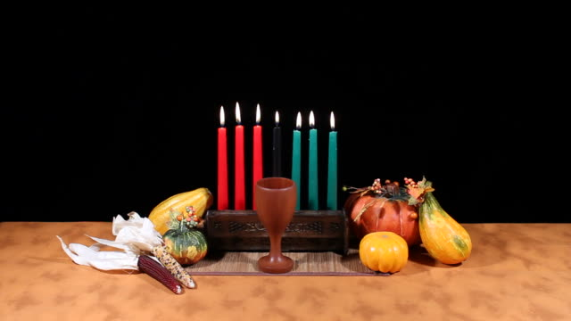 Kwanzaa Display Straight On Against Black video