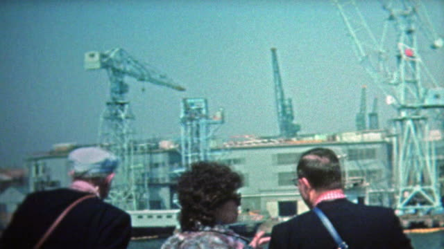 1972: Kyoto ocean shipping container cranes and high tech harbor. . 20th century stock videos & royalty-free footage