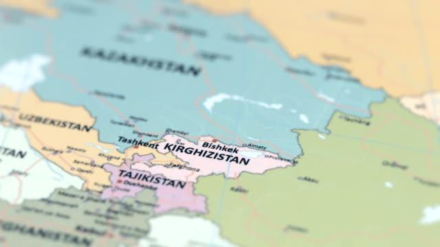 亞洲吉爾吉斯斯坦世界地圖 - 亞洲中部 個影片檔及 b 捲影像
