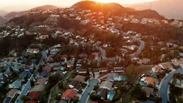 La Canada and Glendale Urban Sprawl, California - Drone Shot Aerial drone view of hillside houses in La Canada California urban sprawl shot at dusk. b roll stock videos & royalty-free footage
