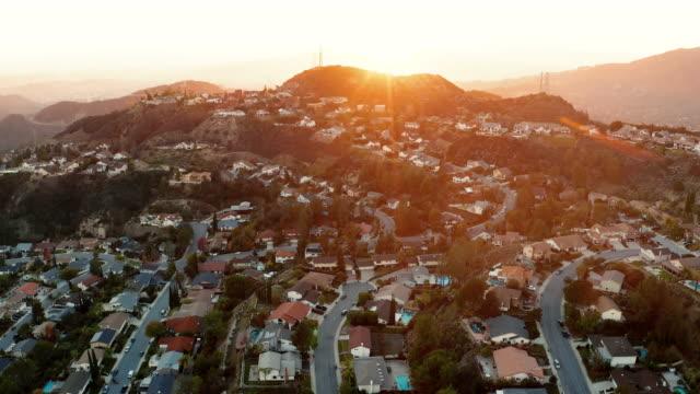 La Canada and Glendale Urban Sprawl, California - Drone Shot Aerial drone view of hillside houses in La Canada California urban sprawl shot at dusk. americana stock videos & royalty-free footage