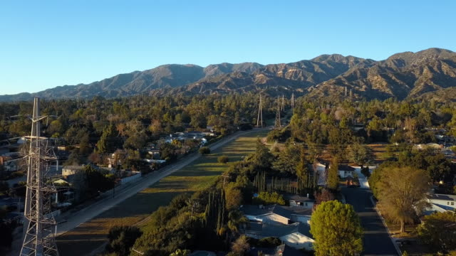 La Canada Edison Trail Power Lines - Aerial Drone Shot Power lines on the Edison Trail in LA Canada California. power line stock videos & royalty-free footage