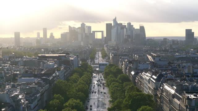 La Defense skyline, financial district of Paris at dusk