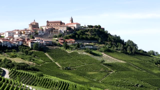 la morra town on langhe hills and vineyards in piedmont, italy - langhe video stock e b–roll