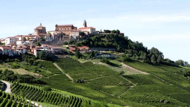 la morra town, pan on langhe hills and vineyards in italy - langhe video stock e b–roll
