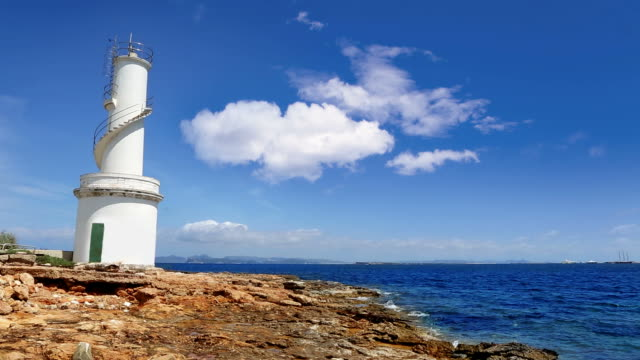 La savina lighthouse in balearic island of Formentera video