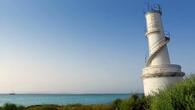 La Savina lighthouse in Formentera Sabina near Ibiza Balearic video