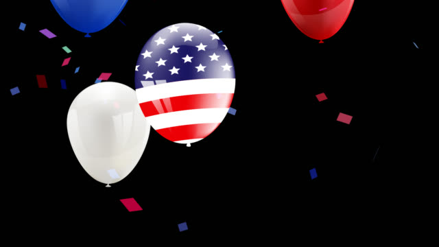 Labor day card design American flag balloons video