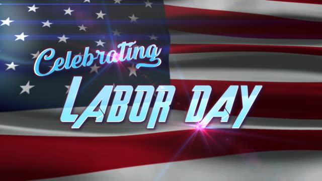 vídeos y material grabado en eventos de stock de celebrar el día del trabajo el texto con fondo de bandera estadounidense - día del trabajo