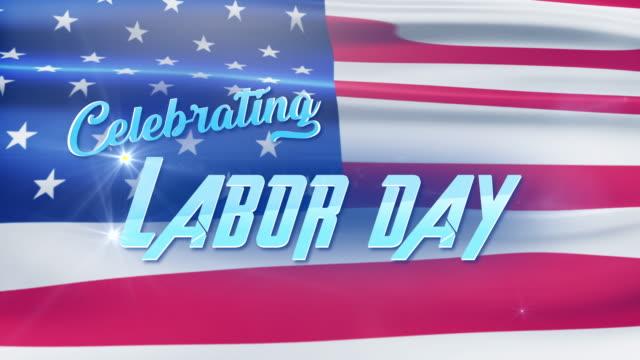 Labor Day feiern Text mit amerikanischer Flagge Hintergrund – Video