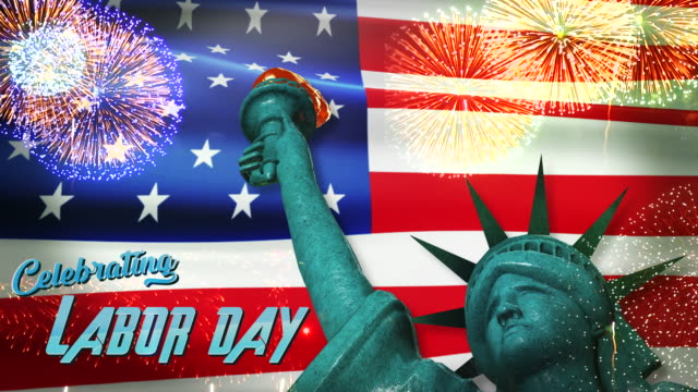labor day celebrate text with american flag background - labor day stock videos and b-roll footage