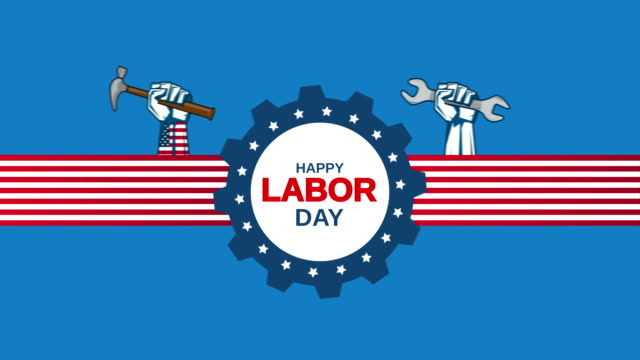 Labor Day on blue background with moving hands holding wrench and hammer. 4k animation video