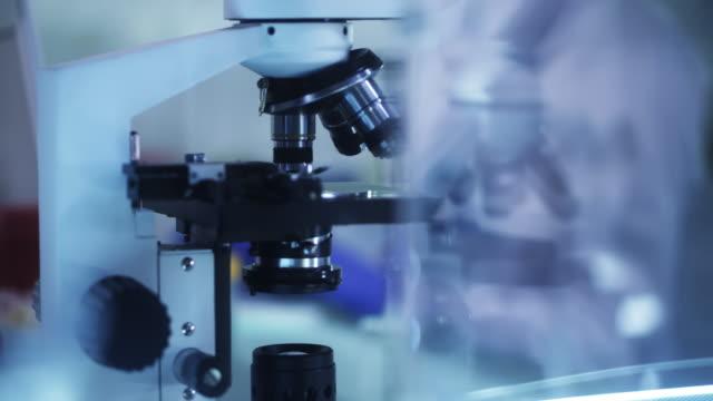 Laboratory equipment. Microscope close up