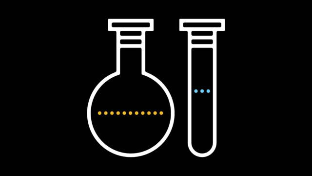 laboratuvar araştırma çizgi simgesine animasyon alpha ile - biyomedikal animasyonu stok videoları ve detay görüntü çekimi