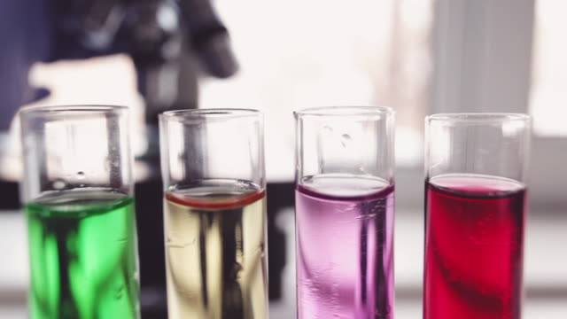 Laboratory tube and microscope. video