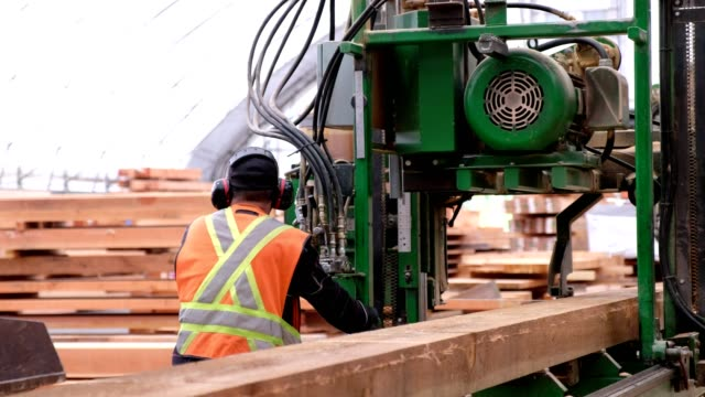 Video Laborer uses industrial machinery to cut the wood