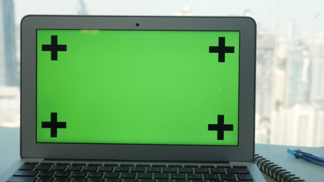 Ds Labtop Green Screen Chroma Key With Business Office Background