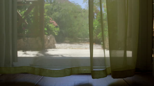 Lace curtain blowing at summer day video