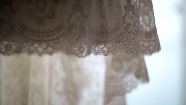 Lace wedding dress close up video