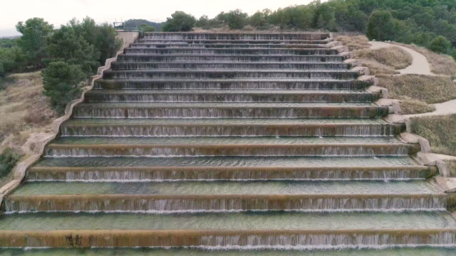 Ladder of waterfalls from front view from drone up