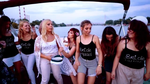 ladies celebrating bachelorette party - bachelorette party stock videos & royalty-free footage